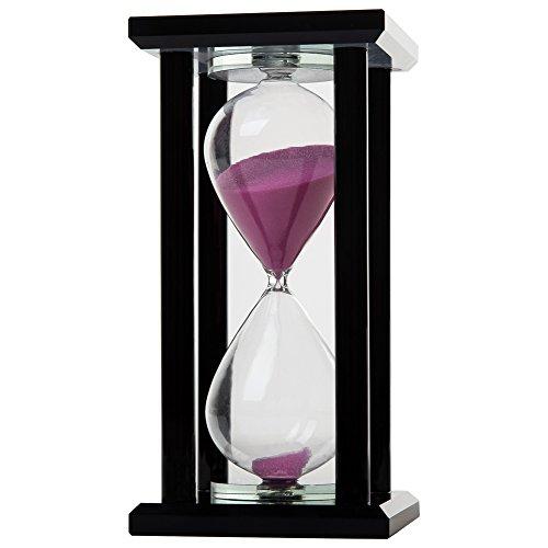 Preisvergleich Produktbild IFOLAINA Mehrfarben-Sanduhr-Kristall-Sand-Timer Mehrfach-Zeit verfügbar (30minutes, Fuchsia sand mit reiner schwarzer säule)