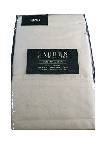 Ralph Lauren Kissenbezüge, King Size, Baumwollsatin, weich, Gelb, Fadenzahl 300, 2 Stück -