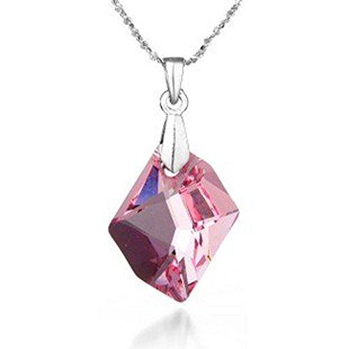 Cut Crystal Candy (Rose Pink Crystal Cosmic-Cut Silber Halskette Anhänger (Machen Mit Swarovski Element))