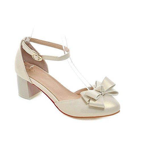 balamasa Femme Boucle avec nœud en métal imitation cuir pumps-shoes Doré