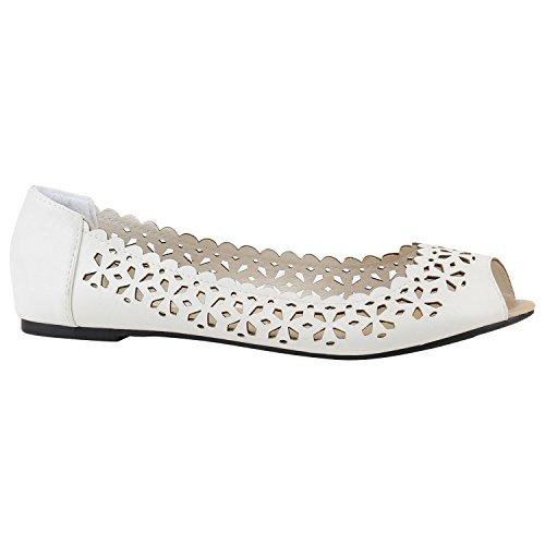 Klassische Damen Ballerinas Leder-Optik Flats Schuhe Übergrößen Flache Slipper Spitze Prints Strass Flandell Weiss Lochungen