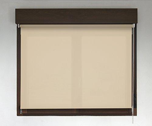 Estor enrollable a medida PREMIUM traslúcido (permite paso de luz, no permite ver el exterior/interior). Estor translúcido color marrón claro. Medida 150cm x 160cm para ventanas y puertas