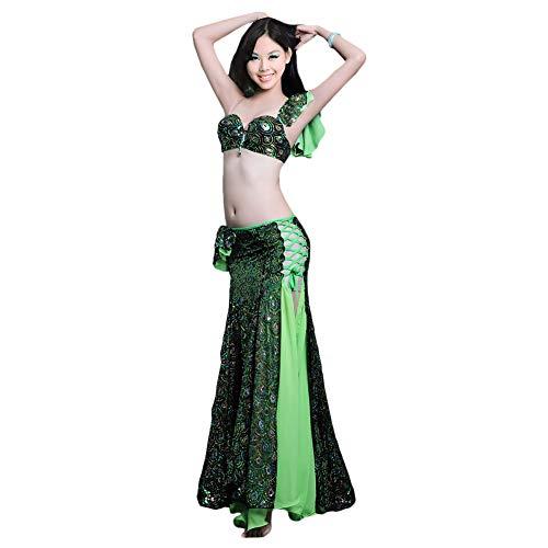 ROYAL SMEELA,Frauen Bauch Tanz-Kleidung Pfau Pailletten BH Rock Kostüm,grün,blau,L,M,S (Grüne Pailletten Tanz Kostüm)