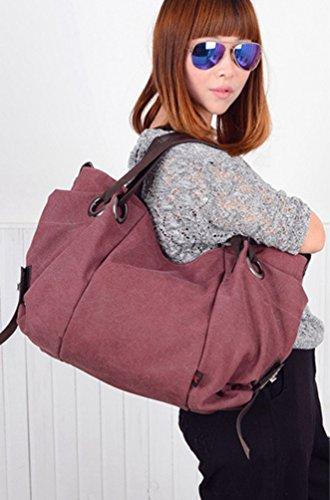 ZKOO Damen Grosse Kapazität Leinwand Schultertasche Reisetasche Freizeit Shopper Tragetasche Umhängetasche Violett