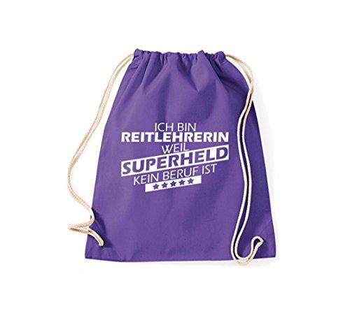 Shirtstown Turnbeutel Ich bin Reitlehrerin, weil Superheld kein Beruf ist purple