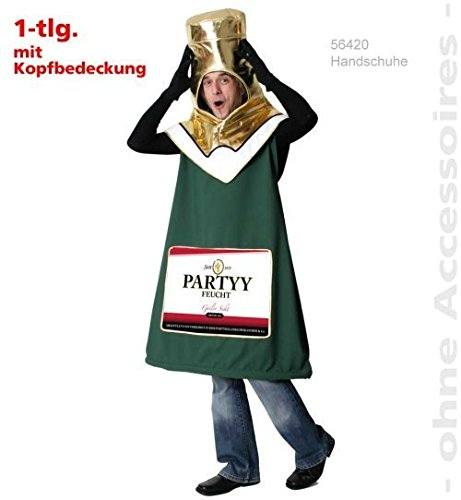 Sektflasche Piccolino Party Fasching Kostüm Unisex 1tlg inkl. Hut Gr. XL
