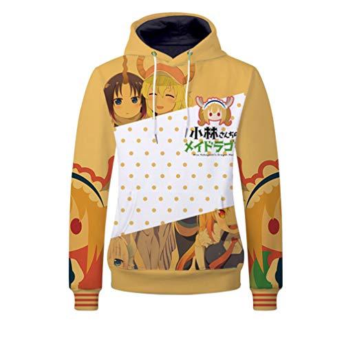 Cosstars Miss Kobayashi's Dragon Maid Anime Kapuzenpullover Sweatshirt Cosplay Kostüm Pullover Hoodie Sweater Top Mantel Orange XXXL