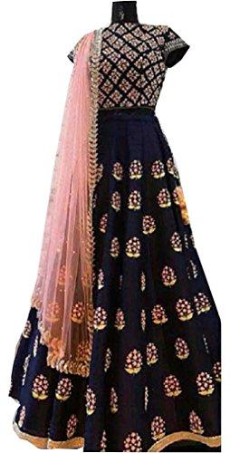 Sunshine Fashion Women's Crepe Silk Achkan Semi-Stitched Dress Material (Sund779_Blue_Free Size)
