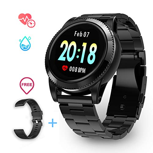 Smartwatch Herren, GOKOO Smart Watch Stylische IP67 Wasserdicht Sportuhren Männer Jungen Fitness Tracker Aktivitätstracker mit Pulsmesser Kalorienzähler Schlaftracker für Android IOS (Schwarz)