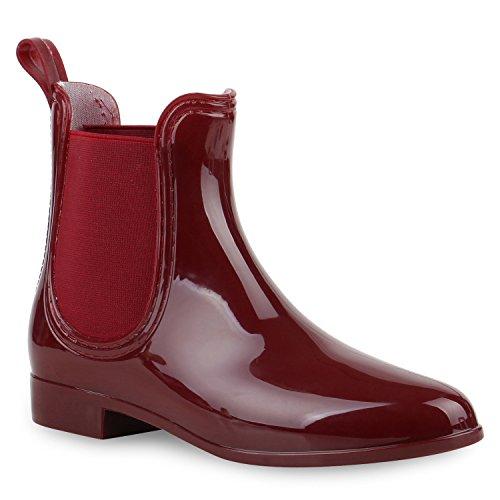 Damen Stiefeletten | Chelsea Boots Lack | Damenschuhe Muster Animal Print | Blockabsatz Schuhe Weinrot