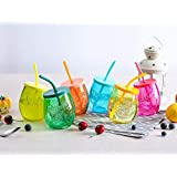 Homies International Set Of 4 Piece Glass Frosty Clear Mason Jar With Strew And Plastic Lid For Juice, Beer, Soft Drinks, Water 400 Ml Each (Multicolor)