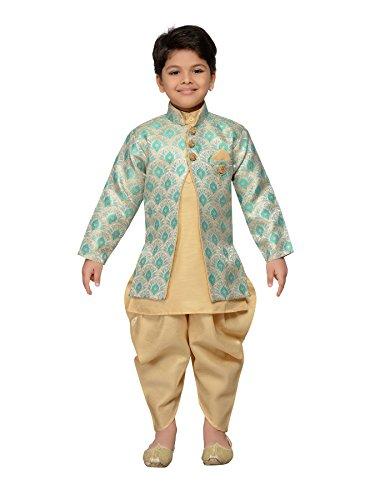 AJ Dezines Indian Kids Wear Bollywood Stil Salwaar Sherwani für Jungen (612-GREEN-10) - Dhoti Kurta
