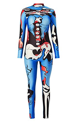 Halloween Overall Drucken 3D Hot Print Sexy Ganzkörper Body Xray Royalblue Body Skull Knochen Red Blooed Lustige Cosplay Vampire Skeleton Catsuit Scary entbeinte Trikot Jumpsuit Kostüm