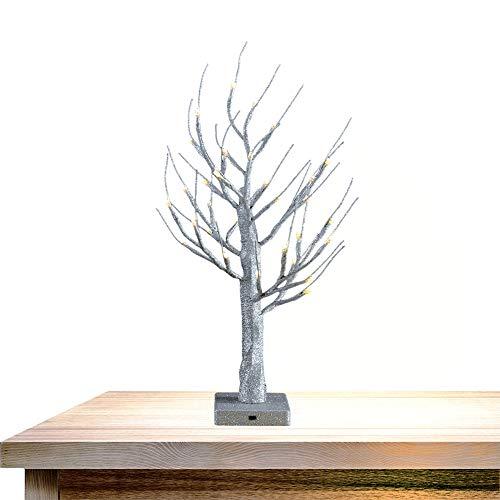 Obelon ramoscello di scintillio albero con luce bianca calda,betulla pre-illuminata con 32 led,albero di pasqua da tavola con altezza 1,8ft/0,55m per natale,pasqua,matrimonio,decorazione (argento)