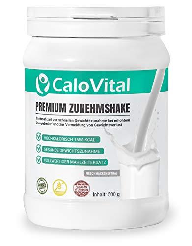 Trinknahrung hochkalorisch für Gewichtszunahme | Kohlenhydrate & Eiweiß als Kalorien Shake | Hochdosiert mit vielen Vitaminen | CaloVital - Premium Qualität aus Deutschland (Geschmacksneutral 500g)
