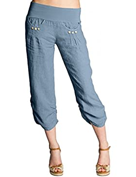 CASPAR Fashion Caspar KHS017 Pantalones Capri Pirata de Lino para Mujer