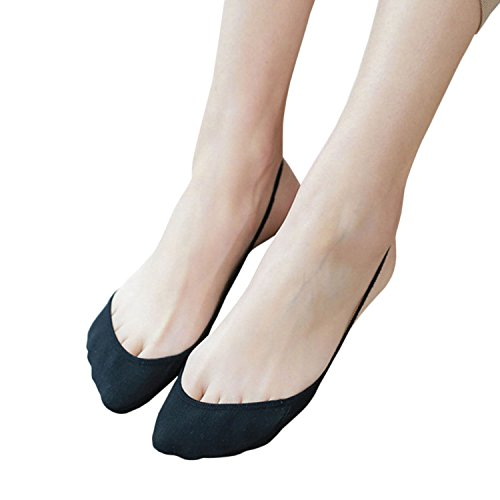 Yolev Füßlinge Baumwolle Ballerina Damen Socken (Schwarz)