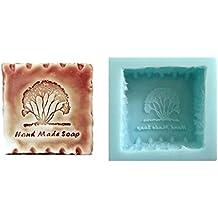 """Molde de silicona para jabones artesanos, diseño cuadrado con un árbol y texto """"Hand made soap"""""""