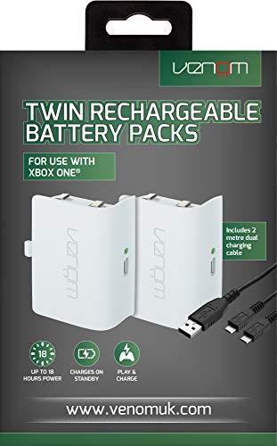 Venom Xbox One Twin Rechargeable Battery Pack weiß - Doppelpack Xbox One Akkus inkl. Micro USB Ladekabel mit Y Weiche