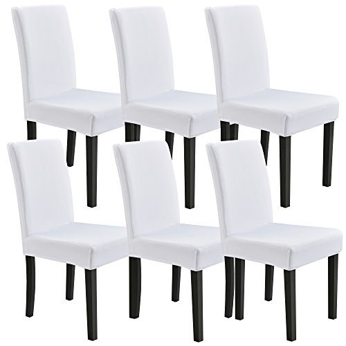 [neu.haus]® Stuhlhusse 6er-Set 42-53 cm Weiß Schonbezug Stuhlbezug Stuhlüberzug Stretch (Stuhlhussen-set)