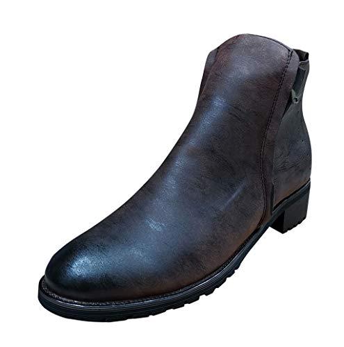 Herren Leder Stiefelette Moderne Chelsea-Stiefelette Retro Boots aus Glattleder mit Blockabsatz Gummisohle Schuhe Herrenschuh Hohe Stiefel Lederschuhe mit Reißverschluss 39-48 TWBB -