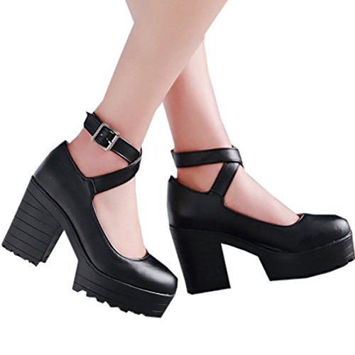 Partiss Damen Gothic Lolita College Wedge Shoes High-top Casual Lolita Pumps Herbst Fruehling Hochzeit Tanzenball Maskerade Anime Cosplay Diestmaedchen Platform Pumps Lolita Schuhen Schwarz