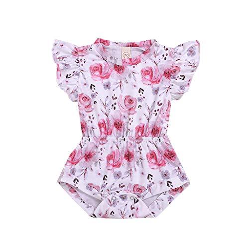 der Baby Mädchen Kleidung Fliegen Ärmel Blumendruck Strampler Bodysuit Outfits Frühling Rüschen Spieler niedlich Kleinkind Prinzessin Strampler Ärmellos süße Kleidung, 6-24M ()