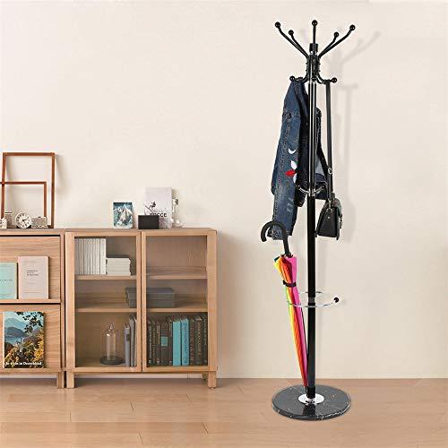 Turefans Garderobenständer, 173.5cm,Edelstahl, Marmorsockel, mehrere Haken, hängende Kleidung, Hut, Regenschirm, schwarz