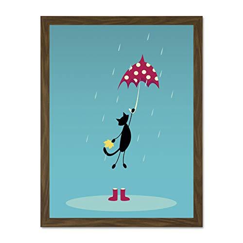 Doppelganger33 LTD Painting Cartoon Cat Umbrella Wellies Rain Art Large Framed Art Print Poster Wall Decor 18x24 inch Supplied Ready to Hang - Print Wellies