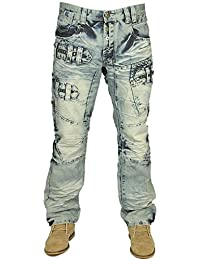 MENS NEW JEANS ETO EM583 IN FUNKY LIGHT WASH STRAIGHT FIT ALL SIZES 28 TO 42
