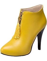 COOLCEPT Damen Elegant Blockabsatz Ankle Stiefel Zipper (39 As, Yellow)