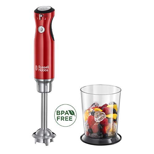 Russell Hobbs Frullatore ad Immersione Retro, Gambo e lama in Acciaio, 700 Watt, BPA Free, 2 velocità, Rosso, 25230-56