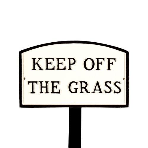 Montague Metall Produkte sp-27sm-wb-ls klein weiß und schwarz Keep Off The Grass Arch Statement Schild mit 23Rasendorn