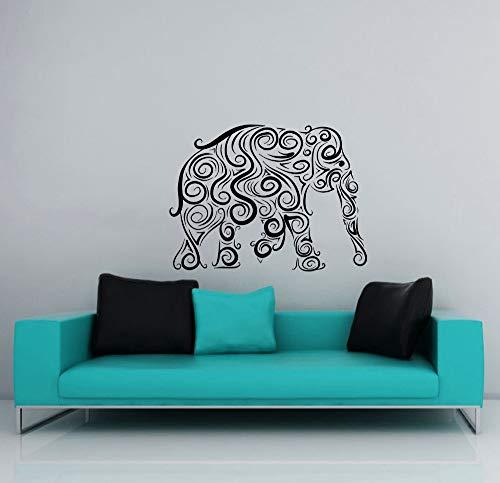 jiushizq Große Böhmische Elefanten Silhouette Wandaufkleber Startseite Zimmer Religiöse Serie Dekor Wandtattoos Tribal Gemusterte Wandbilder Wm 110X130cm