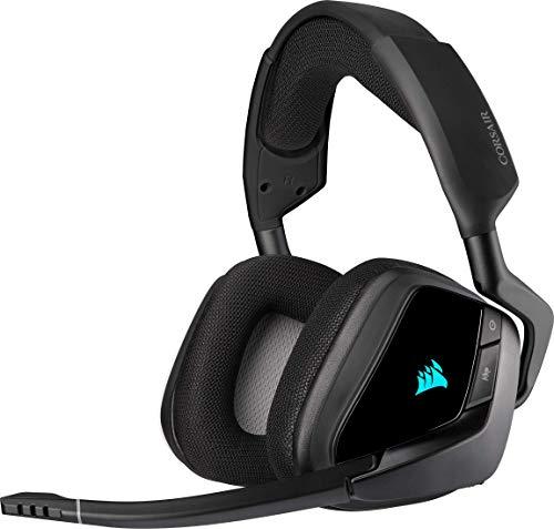 Corsair CA-9011201-EU VOID ELITE RGB Wireless Casque de Gaming Son surround 7.1, Sans-fil 2,4 GHz à faible latence, 12 mètres Portée, Customisable Éclairage RGB avec PC, PS4 Compatibilité - Noir