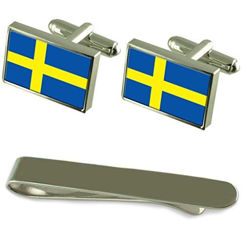 Flagge Schweden Silber Manschettenknöpfe Krawatten Geschenkset mit Gravur -
