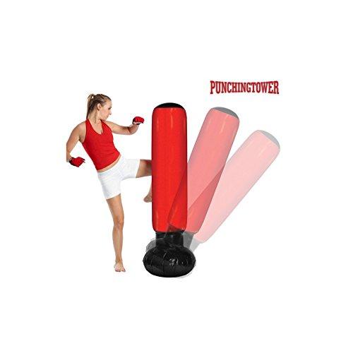 Apolyne Punching Tower Saco de Boxeo de Pie con Inflador, Rojo / Negro