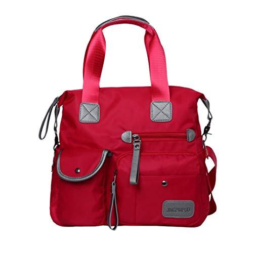 Ansenesna Umhängetasche Damen Nylon Stoff Reißverschluss Groß Handtasche mit Griff Mädchen Wasserdicht (Rot)