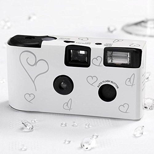 Einwegkameras / Einwegfotos in weiß mit Silberherz - Inhalt pro Packung: 5 Stück Hochzeitskameras