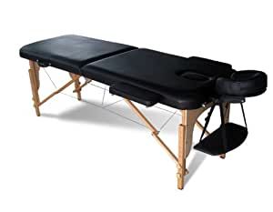 FoxHunter Deluxe Portable Lightweight Massage Table Beauty Couch Therapy Bed Folded 2 Section Wooden Frame Black with Headrest Armsupport Free Cover and Carrying Bag