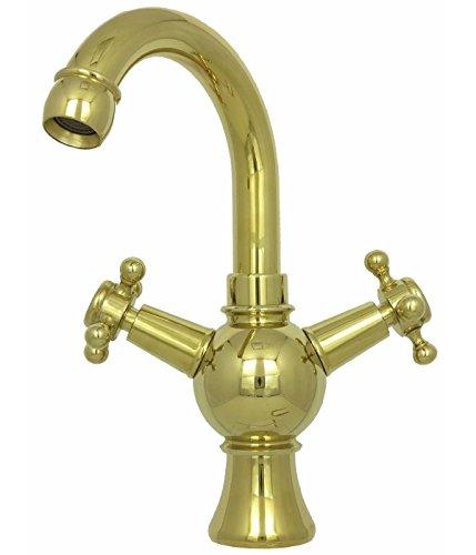 Zweigriff Küchenarmatur Waschbecken Waschtisch Mischbatterie Nostalgie hoch Wasserhahn Hochdruck Badarmatur Bad Küche Gold Nostalgie Retro