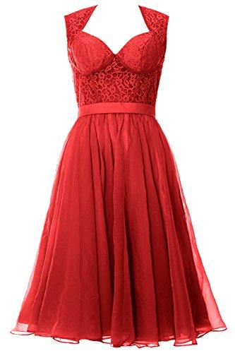 MACloth - Robe - Trapèze - Sans Manche - Femme Rouge - Rouge