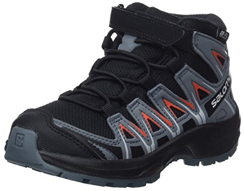 Salomon Kinder Wanderschuhe, XA PRO 3D MID CSWP K, Farbe: schwarz/orange (Black/Stormy Weather/Cherry Tomato), Größe: EU 27