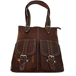 bolso de mujer fabricado en cuero de forma artesanal color marrón