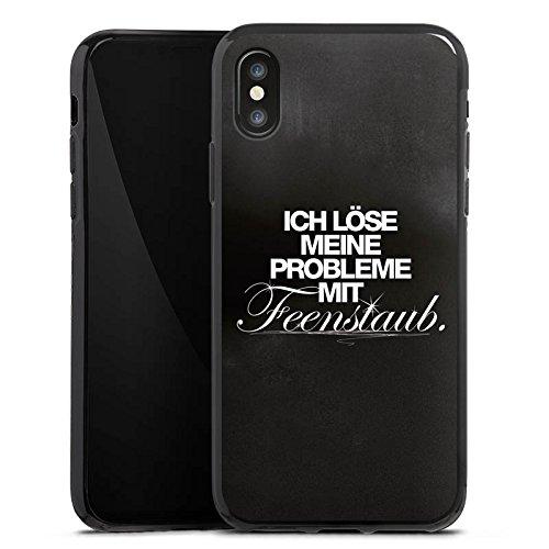 Apple iPhone X Silikon Hülle Case Schutzhülle Sprüche Schwarz Fee Silikon Case schwarz