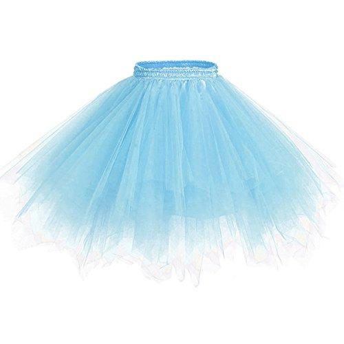 Caissen Damen Vintage Elastisch Puffy Tüll Tütü Röcke Petticoat Ballett Blase Ballkleid...