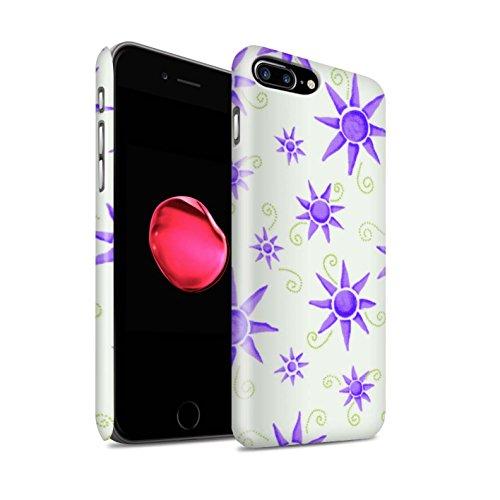 STUFF4 Matte Snap-On Hülle / Case für Apple iPhone 8 Plus / Gelb/Weiß Muster / Sonnenschein Muster Kollektion Lila/Weiß