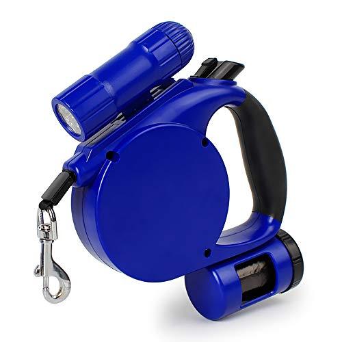 Correa retráctil para perro de alta resistencia de -16 pies (con luz LED + dispensador de bolsas de residuos) para perros pequeños, medianos, grandes de hasta 45 kg – mejor para entrenamiento, caminar, correr
