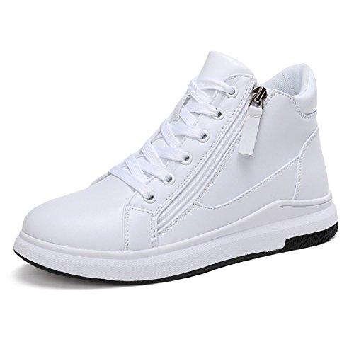 LILY999 Sneakers Zeppa Interna Scarpe da Ginnastica Sportive Donna Alte  Bianche Nere Tacco 6 cm( 113b8400b59