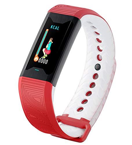 fdrya bluetooth sport smart watch tracker fitness, ip67 impermeabile frequenza cardiaca e monitor del sonno messaggio promemoria per smartphone di sistema android e ios-red